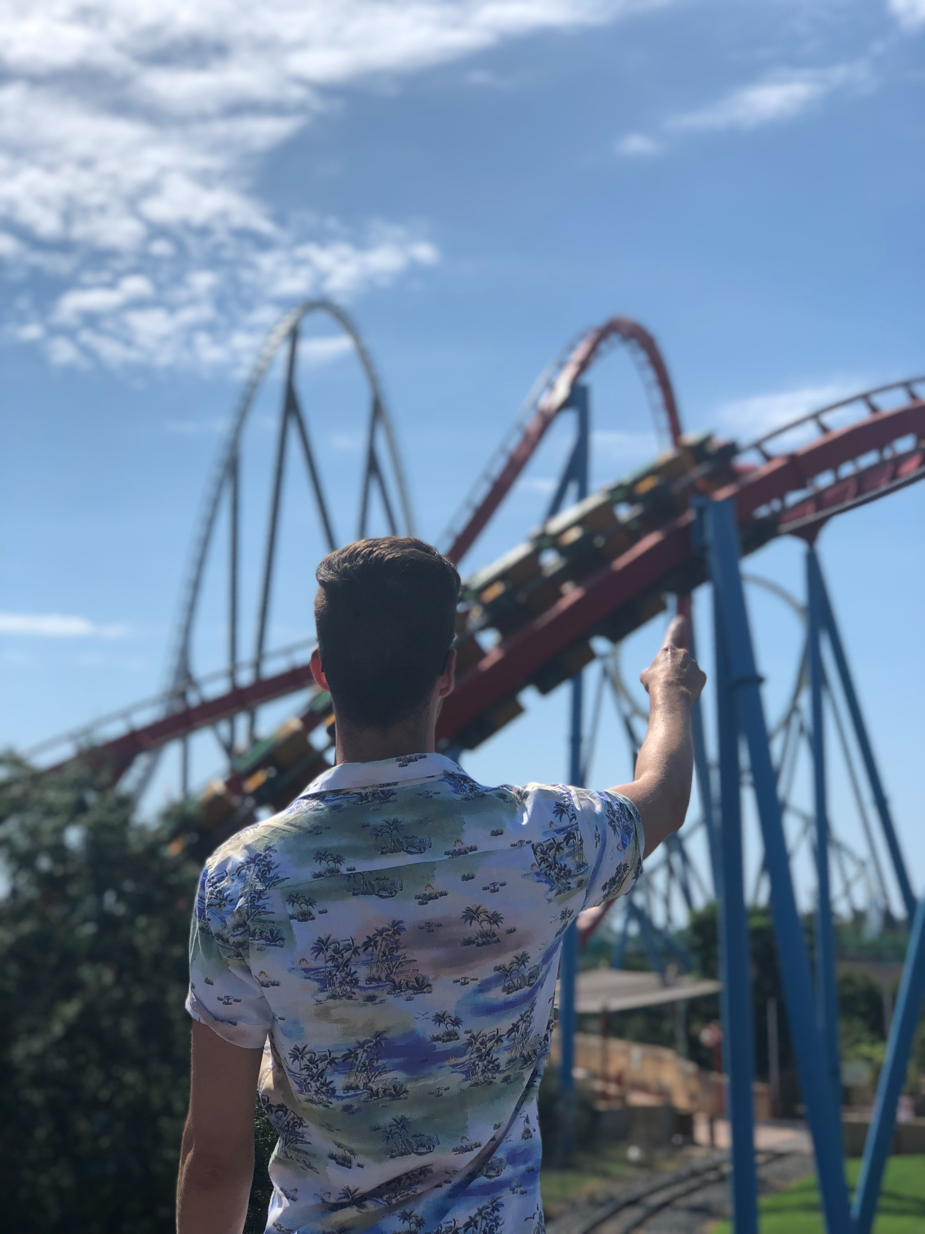 Man pointing at a rollercoaster in the distance
